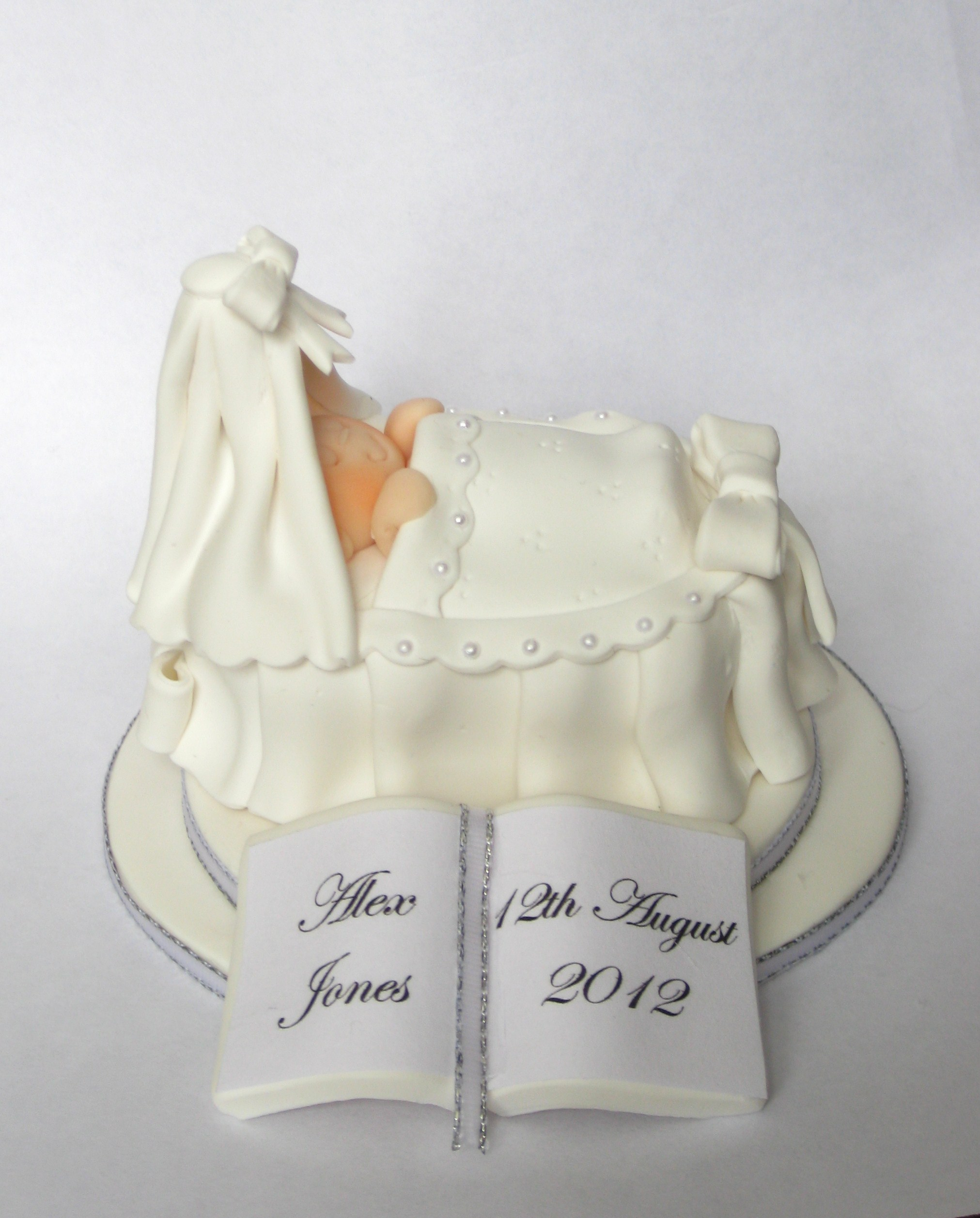 Cake Toppers Baby Christening : Personalised Christening Baby In Cradle Cake Topper ...