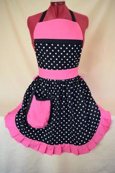 Retro Vintage 50s Style Full Apron / Pinny - Black & White Polka Dot with Pink Trim