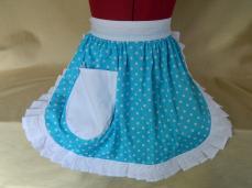 Retro Vintage 50s Style Half Apron / Pinny - Turquoise & White Polka Dot with White Trim