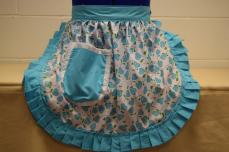 Retro Vintage 50s Style Half Apron / Pinny - Turquoise & White Hearts with Turquoise Trim