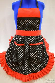 Retro Vintage 50s Style Full Apron / Pinny - Black & White Polka Dot with Red Trim & 2 Pockets
