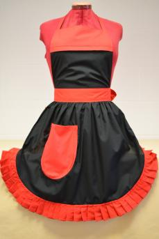 Retro Vintage 50s Style Full Apron / Pinny - Black with Red Trim